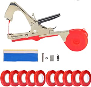 CXZ Plant Vine Tying Machine Tapener Tool, (Red) Garden Plant Tape Tool, with 10 Rolls Tapes and Replacement, for Grapes Tomatos Raspberries and Vining Plant (Red)