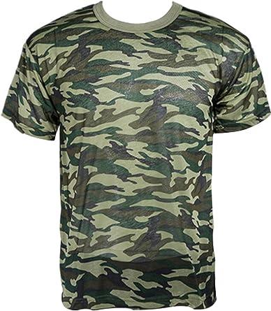 Camisa Camuflaje Camo ejército Militar para Caza Pesca outdoors camiseta de T Manga Corta (Talla XL): Amazon.es: Ropa y accesorios
