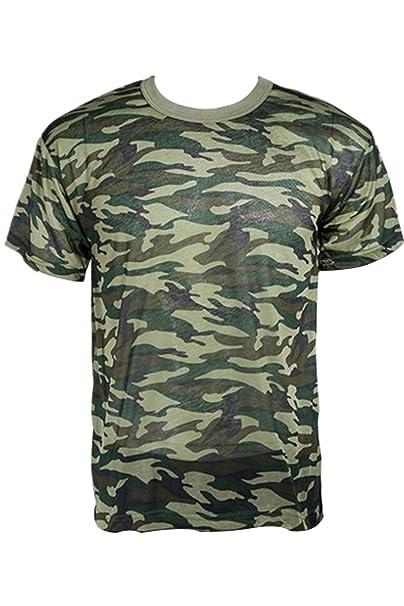 Camisa Camuflaje Camo ejército Militar para Caza Pesca outdoors camiseta de T Manga Corta (Talla