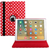 New iPad 2017 Case Cover,Avril Tian 360 Degrees Rotating Multi Angles Magnetic Screen Protective Flip Folio Stand Smart Case Cover for Apple 2017 New iPad 9.7 inch Tablet (New iPad 2017, Red)