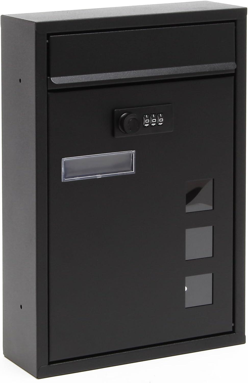 Buzón Decorativo Moderno Negro de Pared Cerradura Individual Recubrimiento Polvo Exterior