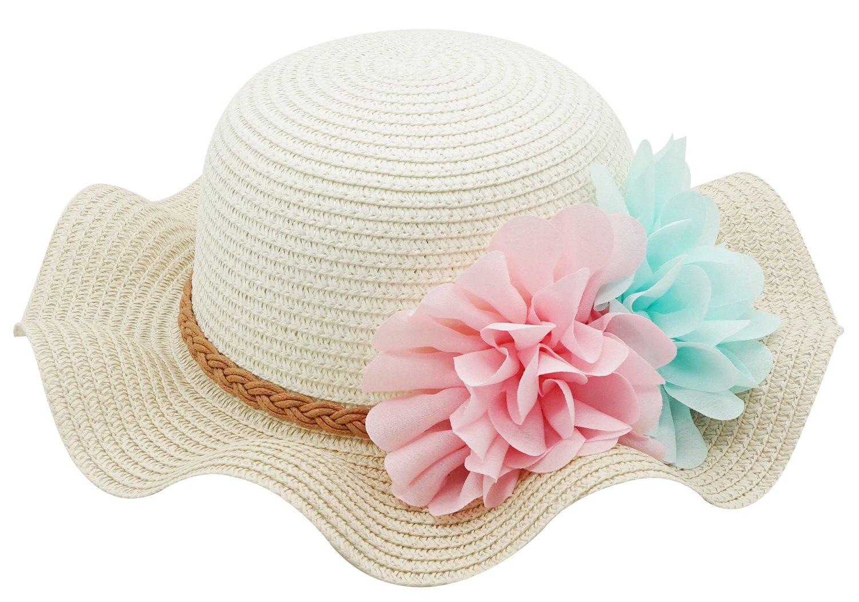 Bienvenu Little Girls Straw Floral Wide Large Brim Beach Sun Hat Cap,Beige