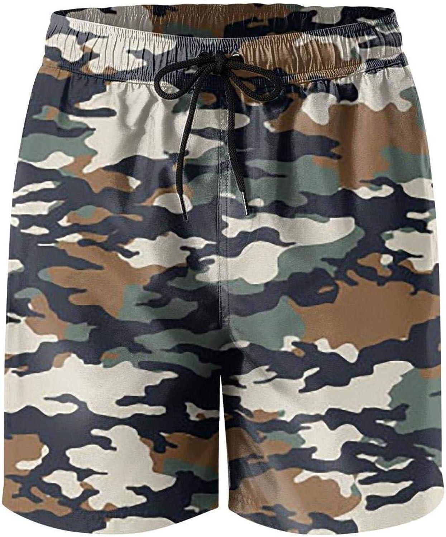 LHSMNCZIRW Green Camouflage Camo Army Mans Summer Swimming Trunks Fashion Quick Dry Swim Trunks