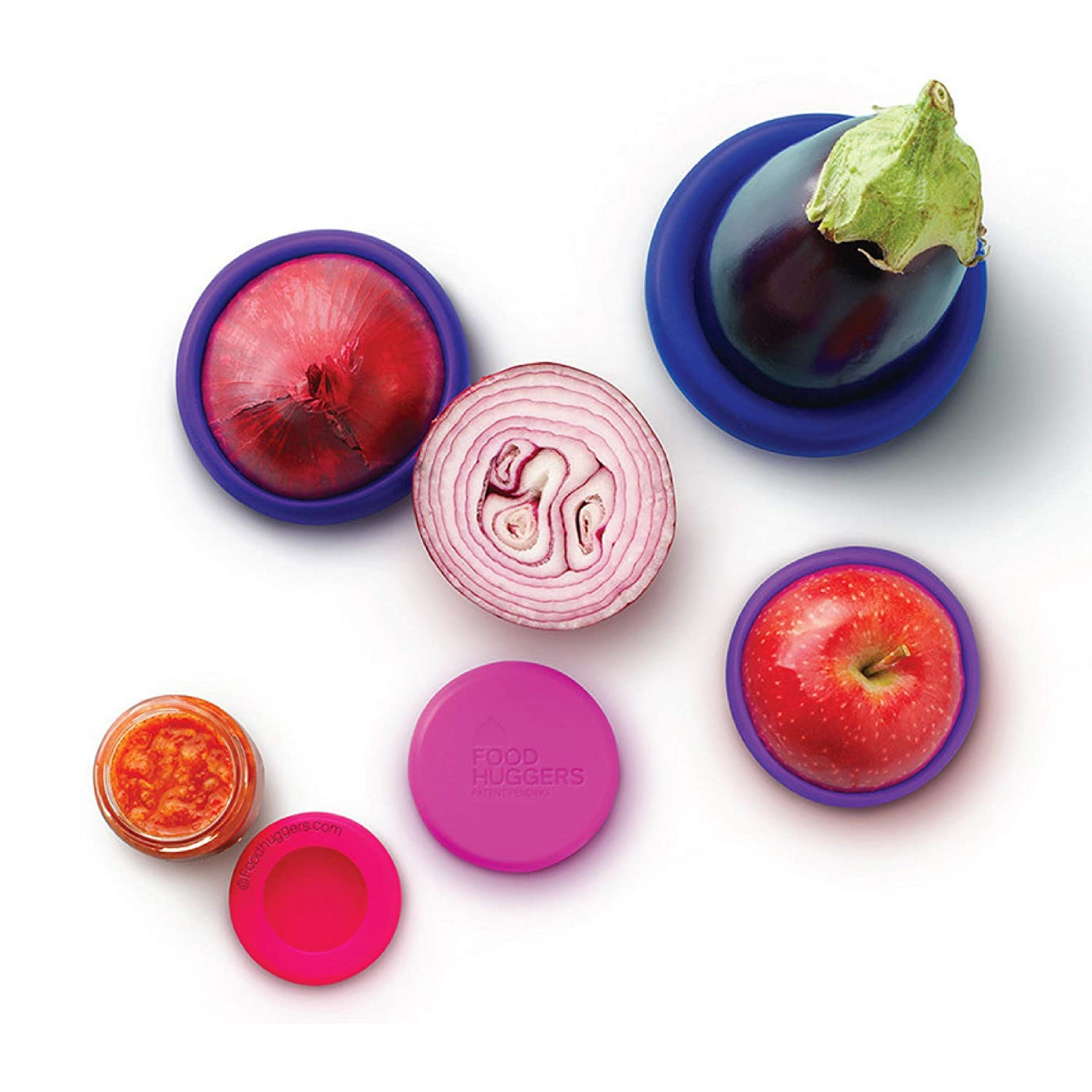 Food Huggers Reusable Silicone Food Savers Set of 5 (Bright Berry) - Patented Product