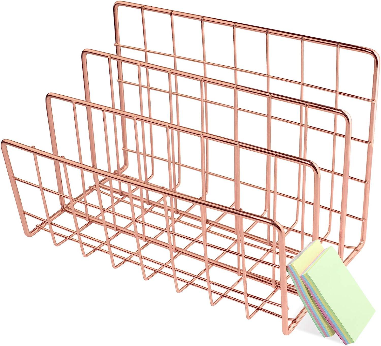 Qualsen Desktop Mail Sorter Organizer, Letter Organizer Rose Gold Metal File Holder Magazine Racks for Home Office
