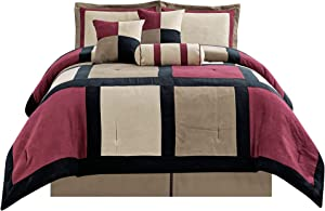 "GrandLinen 7 Piece Burgundy Red, Taupe Color Block Bedding (94""X 92"") Patchwork Comforter Set Micro Suede Bed in A Bag Queen Size Bedding"