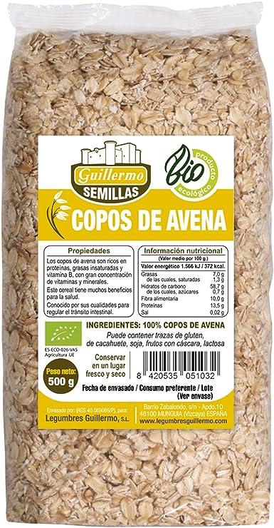 Guillermo Copos de Avena Ecológicos BIO 100% Natural 500g - Pack (1): Amazon.es: Alimentación y bebidas