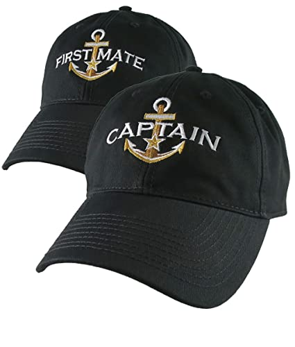 Amazon.com  Nautical Star Golden Anchor Captain and First Mate Embroidery  on 2 Adjustable Black Unstructured Baseball Caps Options Personalize Both  Hats  ... c10c951147b5