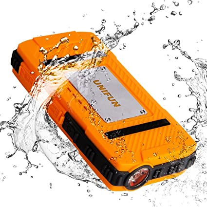 Unifun 10400mAh Waterproof External Battery Power Bank Charger with Strong LED Flashlight and Strap Hole for Tablets, Smartphones and 5V Devices