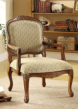 Hand Carved Wood Accent Arm Chair With Antique Oak Finish