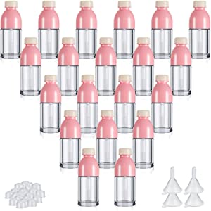 20 Pieces Beverage Bottle Shaped Lip Gloss Tube Empty Plastic Lip Gloss Tube Mini Clear Refillable Lip Balm Bottle Container with 4 Pieces Plastic Funnels for Women Girls DIY Cosmetics, 8 ml
