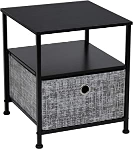 Sorbus Nightstand 1-Drawer Shelf Storage- Bedside Furniture & Accent End Table Chest for Home, Bedroom, Office, College Dorm, Steel Frame, Wood Top, Easy Pull Fabric Bins (Gray/Black)