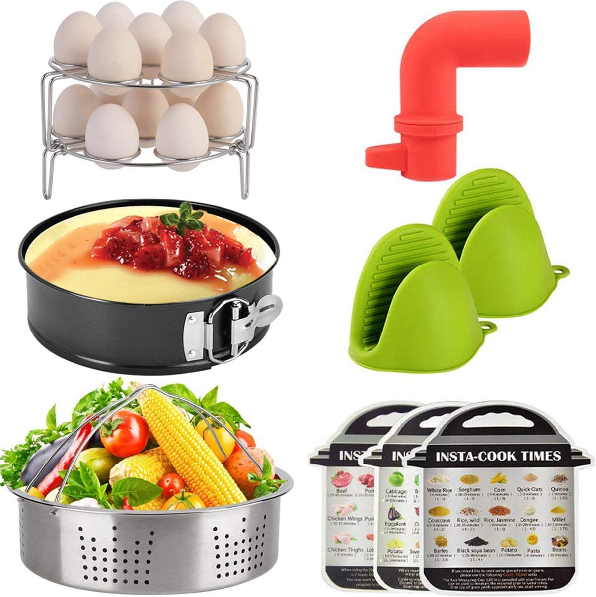 Accessories-Set-for-Instant-Pot, Pressure Cooker Accessories Kit 10 Pieces, Kitchen Wares with Springform Pan, Eggs Racks, Steamer Basket, Oven Mitts, Release Valve and Magnetic Cheat Sheets (5,6 8QT)