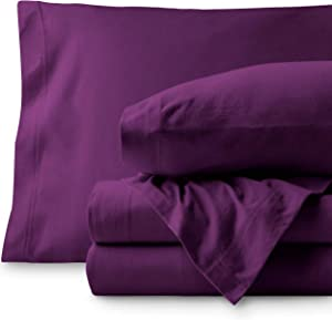 Bare Home Jersey Sheet Set, Ultra Soft, 100% Cotton - Breathable - Deep Pocket (Twin XL, Plum)