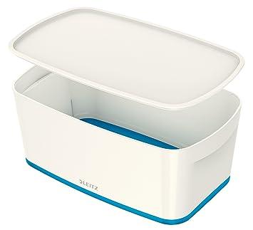 Leitz MyBox Pequeña con tapa, Caja de almacenaje para casa o la oficina, 5 litros, A5, Blanco/Azul metalizado, Plástico brillante, 52291036: Amazon.es: ...