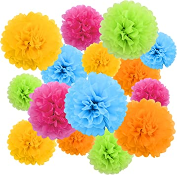 Amazon.com: Pompones de papel de seda de colores brillantes ...