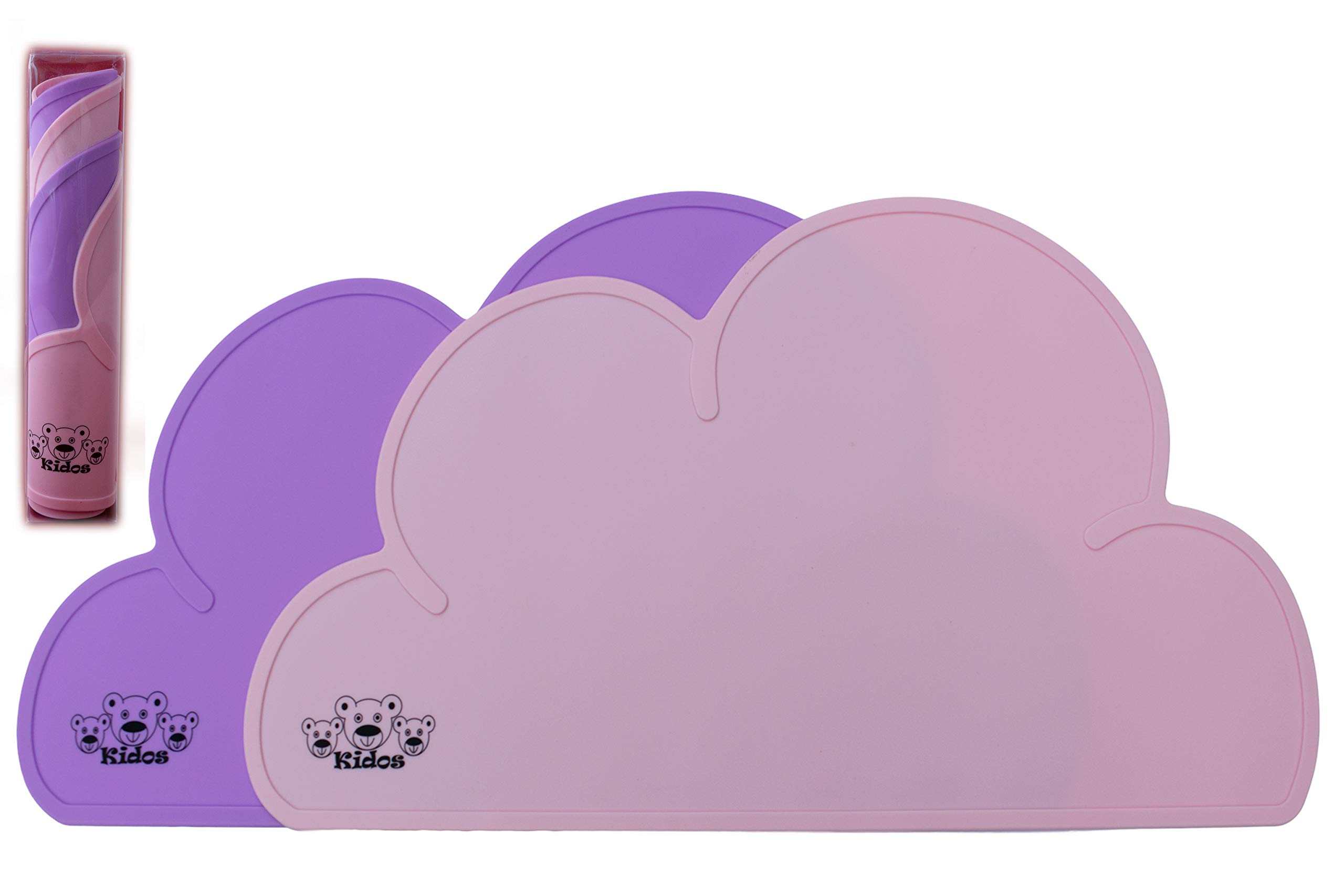 KIDOS Silicone Non Slip Cloud Placemat Kids Baby Toddlers|Set of 2|Reusable Easy Clean Waterproof Portable|Non-Toxic BPA Free FDA Approved Durable Material(Pink/Purple, 2 Pack) by KIDOS