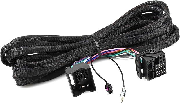 Cable de extensión Quadlock de 6,5m Compatible con BMW 3 E46, 5 E39, X5 E53 (incluida la extensión de Antena en DIN, I-Bus y Cable de Antena)