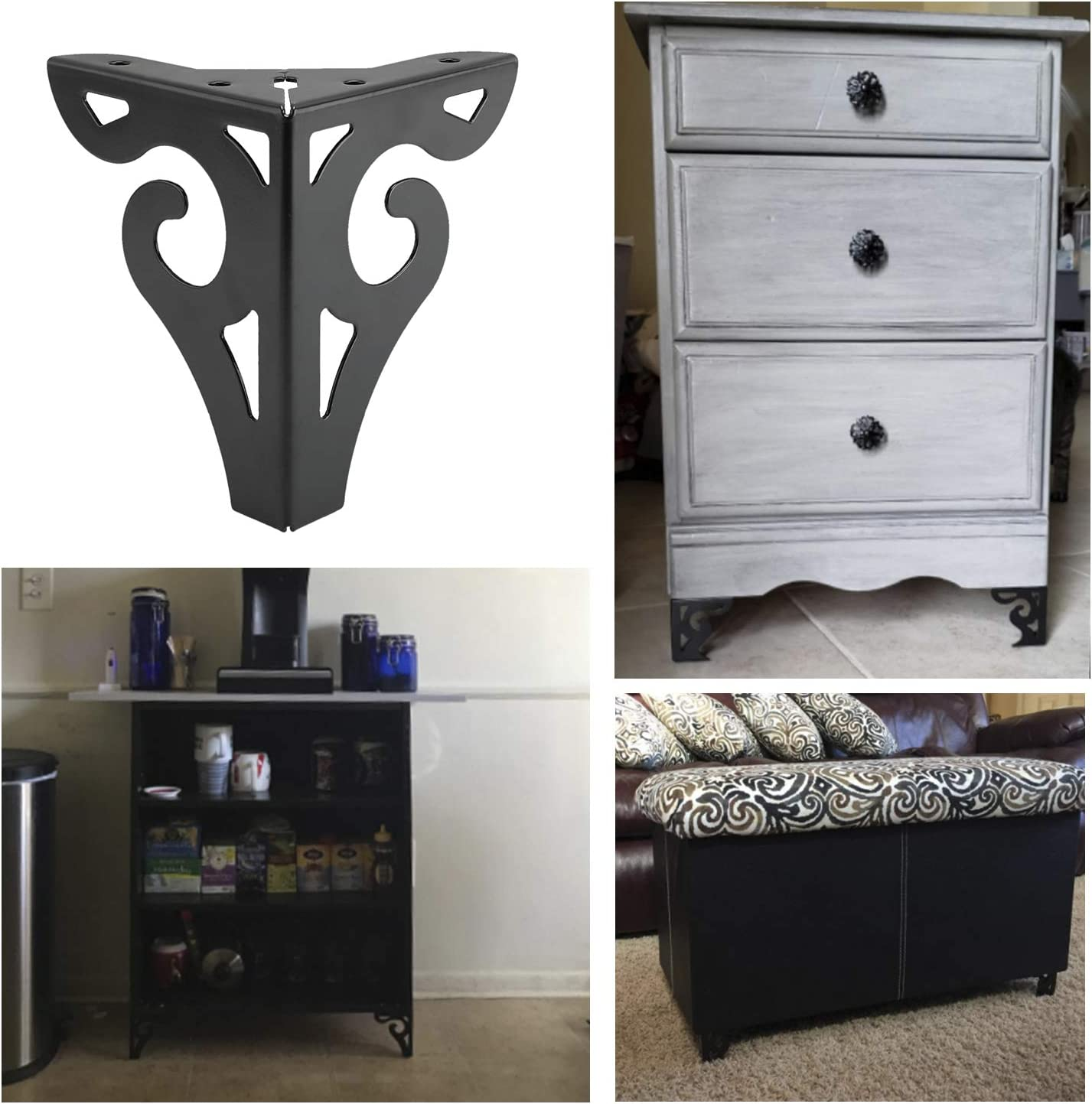Height:5inch DasMarine Furniture Legs,5 inch Height Hollow Out Modern Furniture Sofa Legs Metal Black Finished for Sofa Table Cabinet Cupboard Set of 4