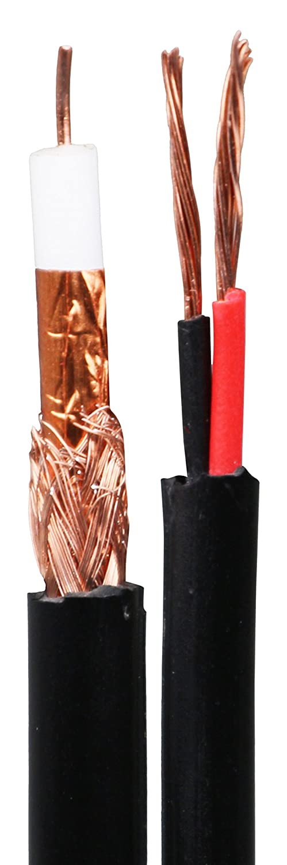 Mitsuru Pro 100 m RG59 + 2 C cable de escopeta coaxial para cctv camé ra-vidé o + power-100 m/75 Ohm CO-COAX-100-75