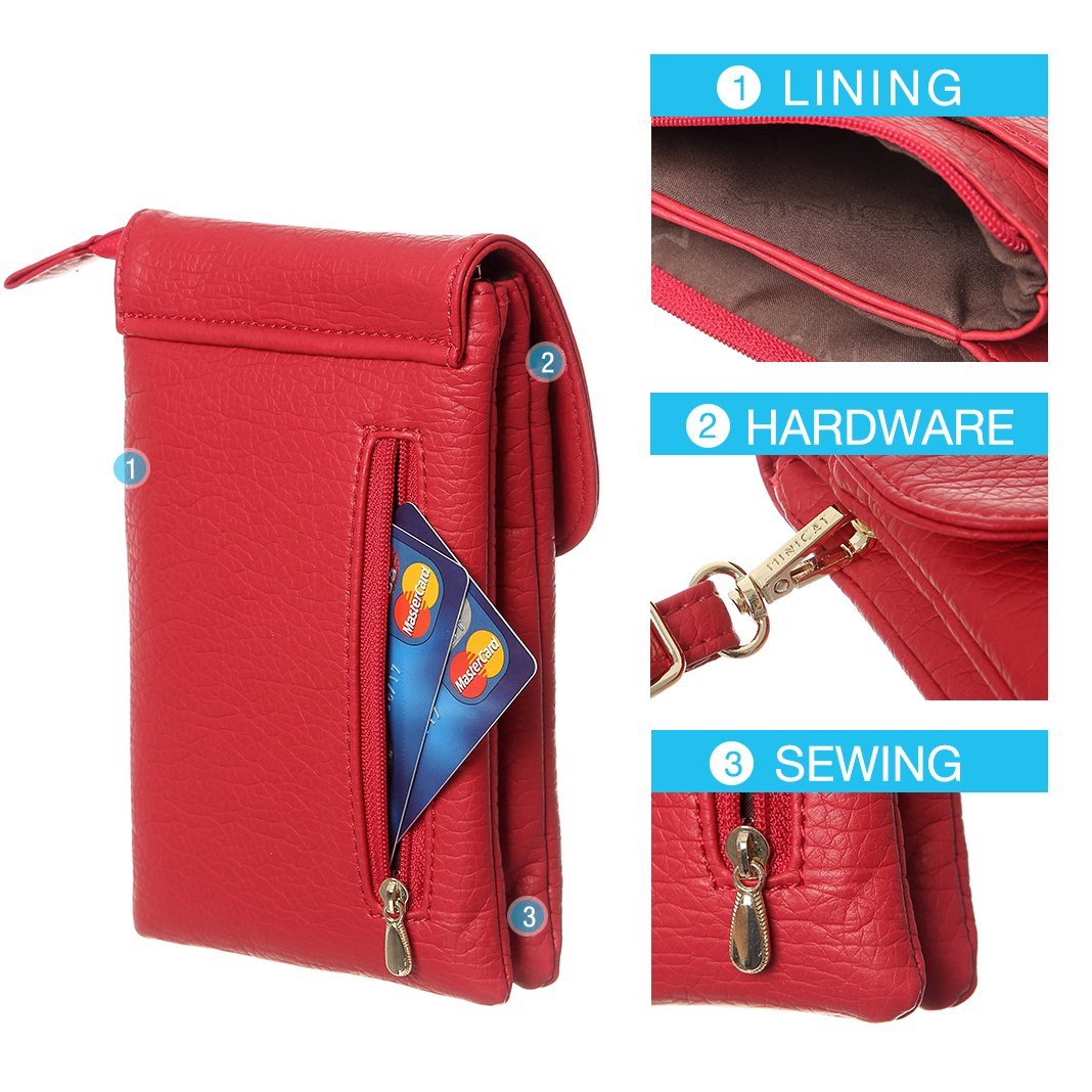 MINICAT Snythethic Leather Small Crossbody Bag Cell Phone Purse Wallet For Women(Red) by MINICAT (Image #3)
