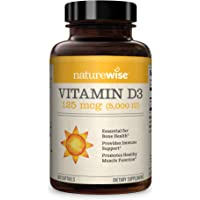 NatureWise Vitamin D3 5,000 IU for Healthy Muscle Function, Bone Health, & Immune Support | Non-GMO in Cold-Pressed…