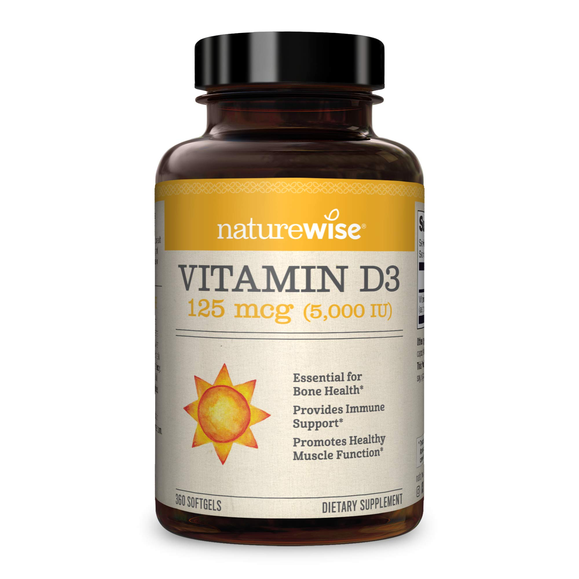 NatureWise Vitamin D3 5000iu (125 mcg) 1 Year Supply for Healthy Muscle Function, Bone Health and Immune Support, Non-GMO, Gluten Free in Cold-Pressed Olive Oil, Packaging May Vary (360 Mini Softgels)