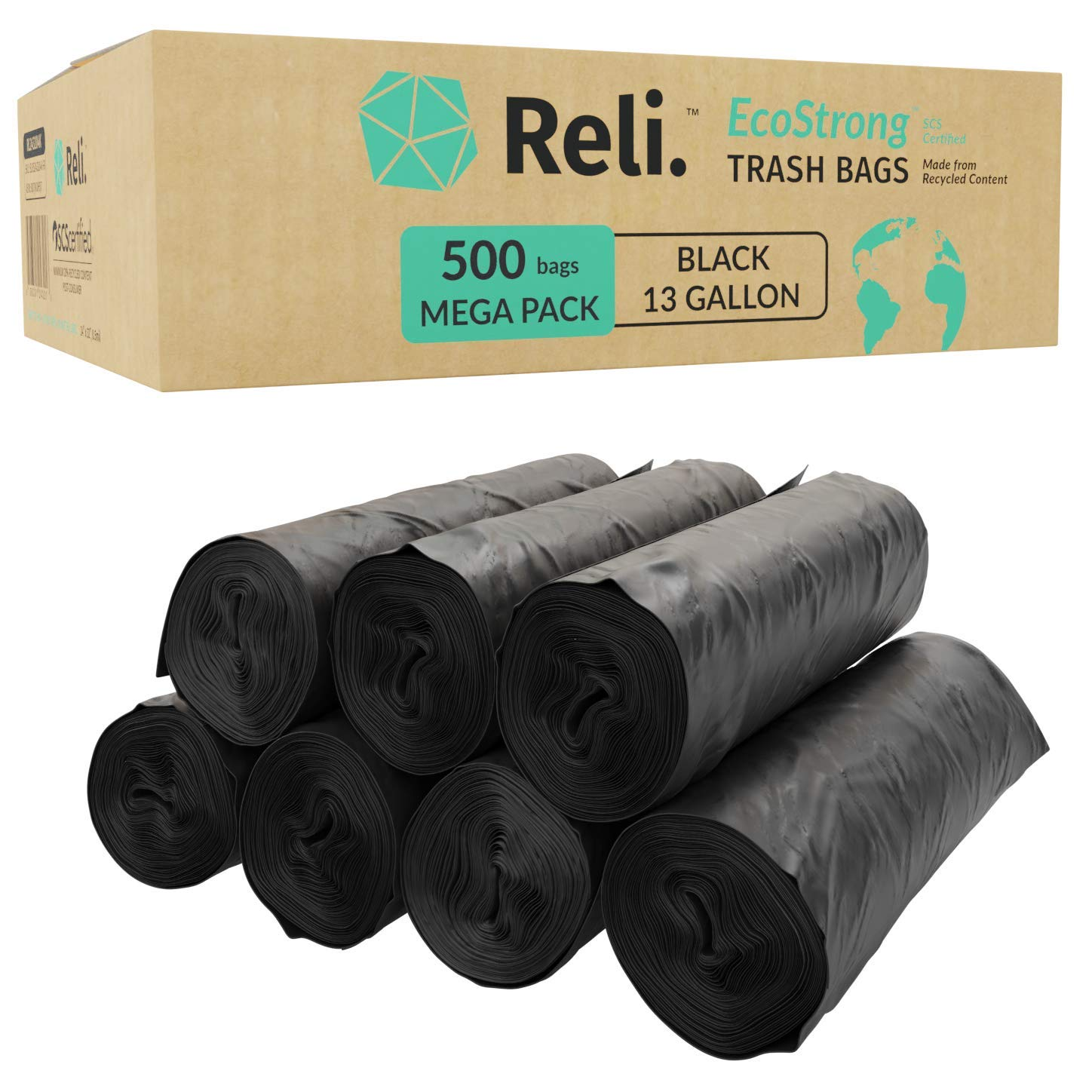 Reli. EcoStrong 13 Gallon Trash Bags (500 Count Bulk) Eco-Friendly Recyclable - Black Garbage Bags 13 Gallon - 16 Gallon Capacity, Made of Recycled Material by Reli.