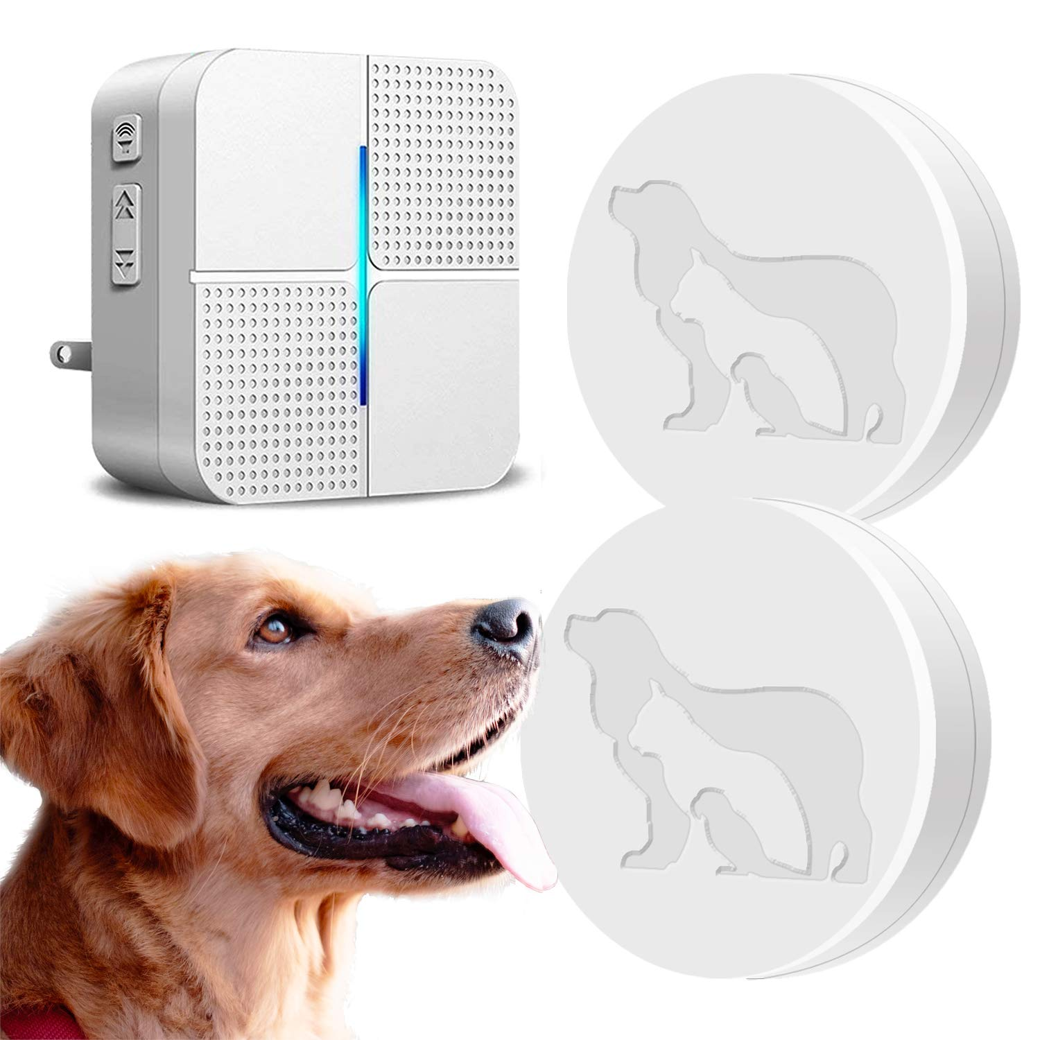 Dog Wireless Door Bell (1 Receiver & 2 Transmitters) - JOYSAE Upgrade Doggie Doorbell Chime for Potty Training with Touch Button Press Waterproof and Greater Surface Area by JOYSAE