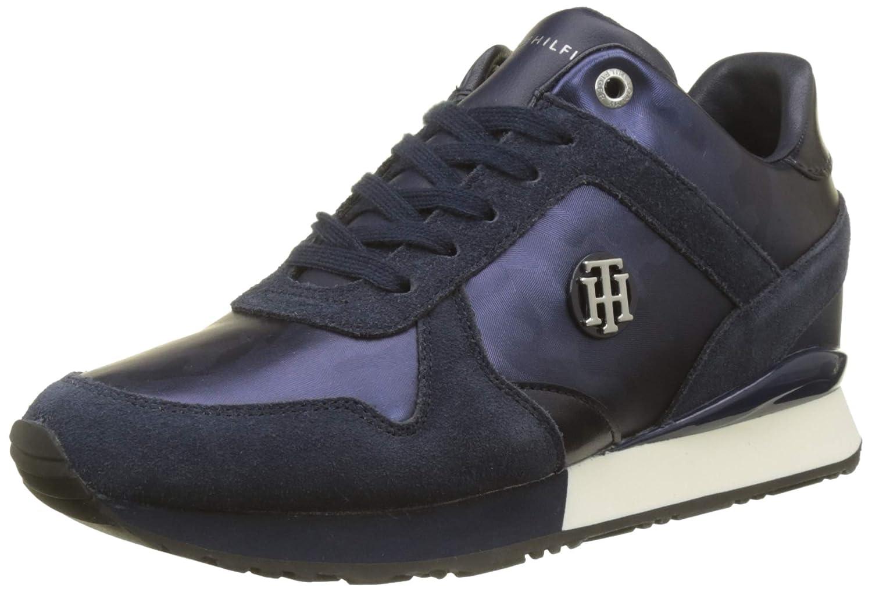 Tommy Hilfiger Camo Metallic Wedge Sneaker, Zapatillas para Mujer 39 EU Azul (Tommy Navy 406)