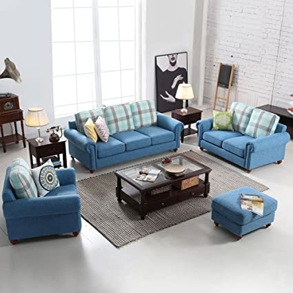 Morden Sectional Corner Sofa Indoor Fabric Sofa Lounge Sofa Bed Blue Living  Room Furniture Home Decor