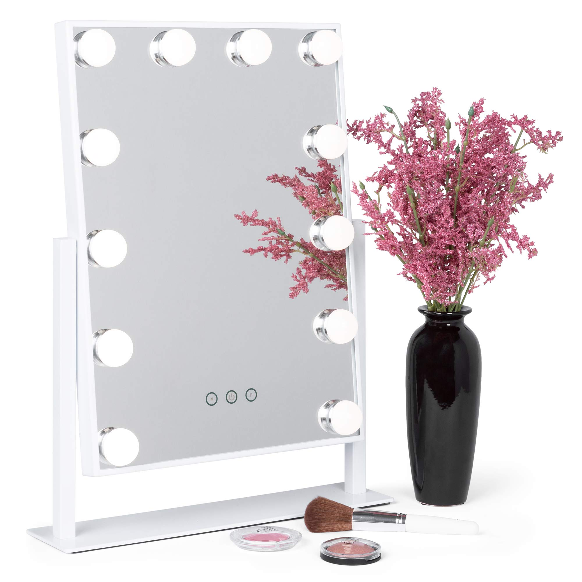 Best Choice Products Smart Touch Lighted Tabletop Hollywood Vanity Mirror Accent Décor with 12 LED Lights, Adjustable Color Temperature and Brightness, White
