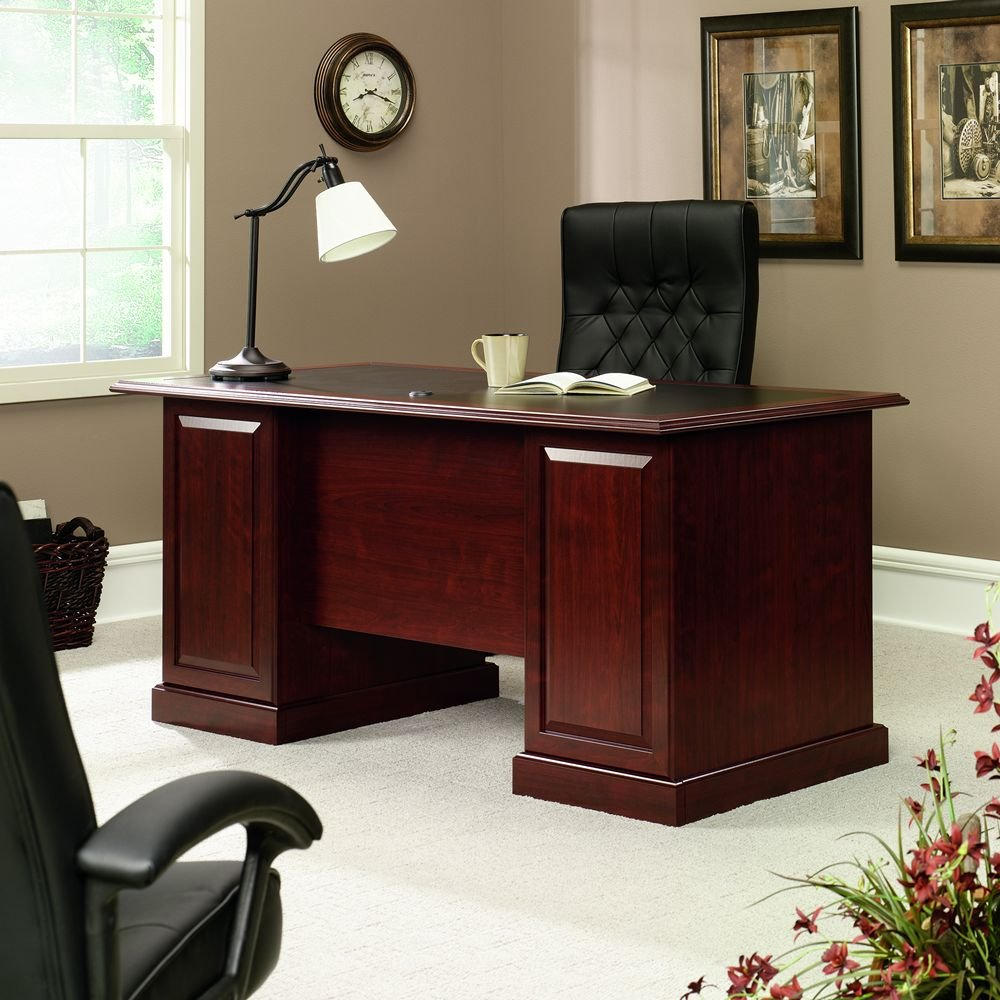 Sauder shoal creek executive desk in jamocha wood - Amazon Com Sauder 402159 Executive Desk Heritage Hill Classic Cherry Kitchen Dining