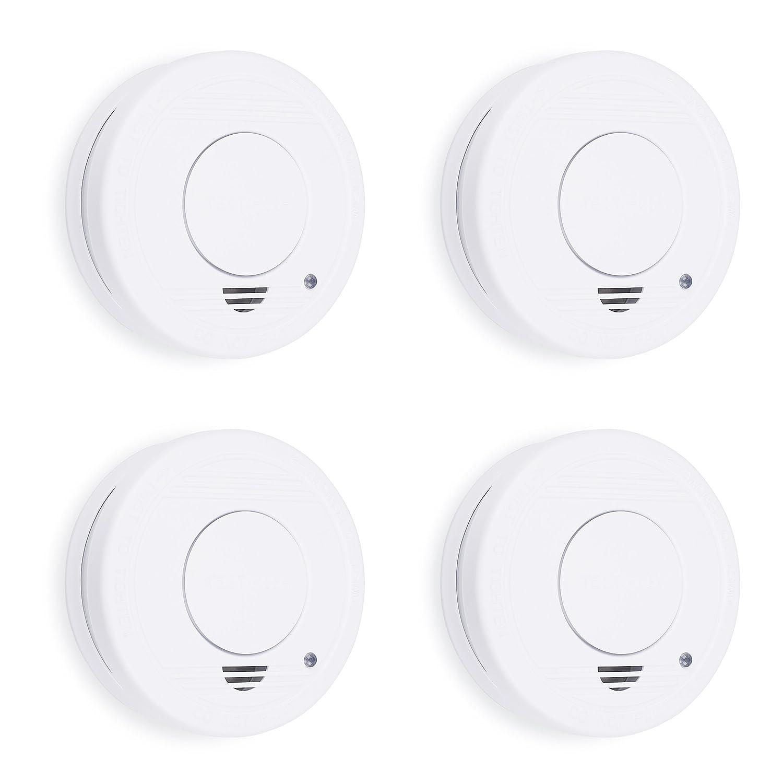 Detector de Humo, 9 V, Blanco Set de 4 Piezas Smartwares 10.100.41