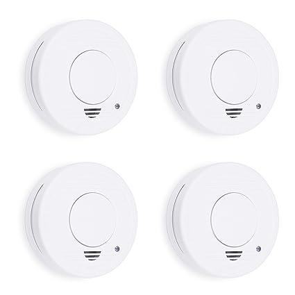 Smartwares 10.100.41 Detector de Humo, 9 V, Blanco, Set de 4