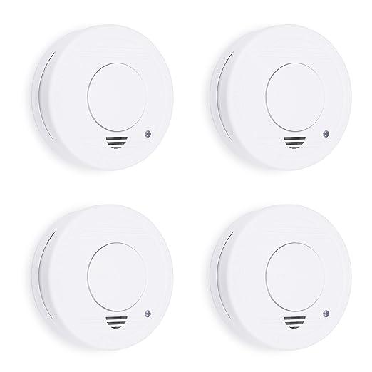 Smartwares 10.100.41 Detector de Humo, 9 V, Blanco, Set de 4 Piezas