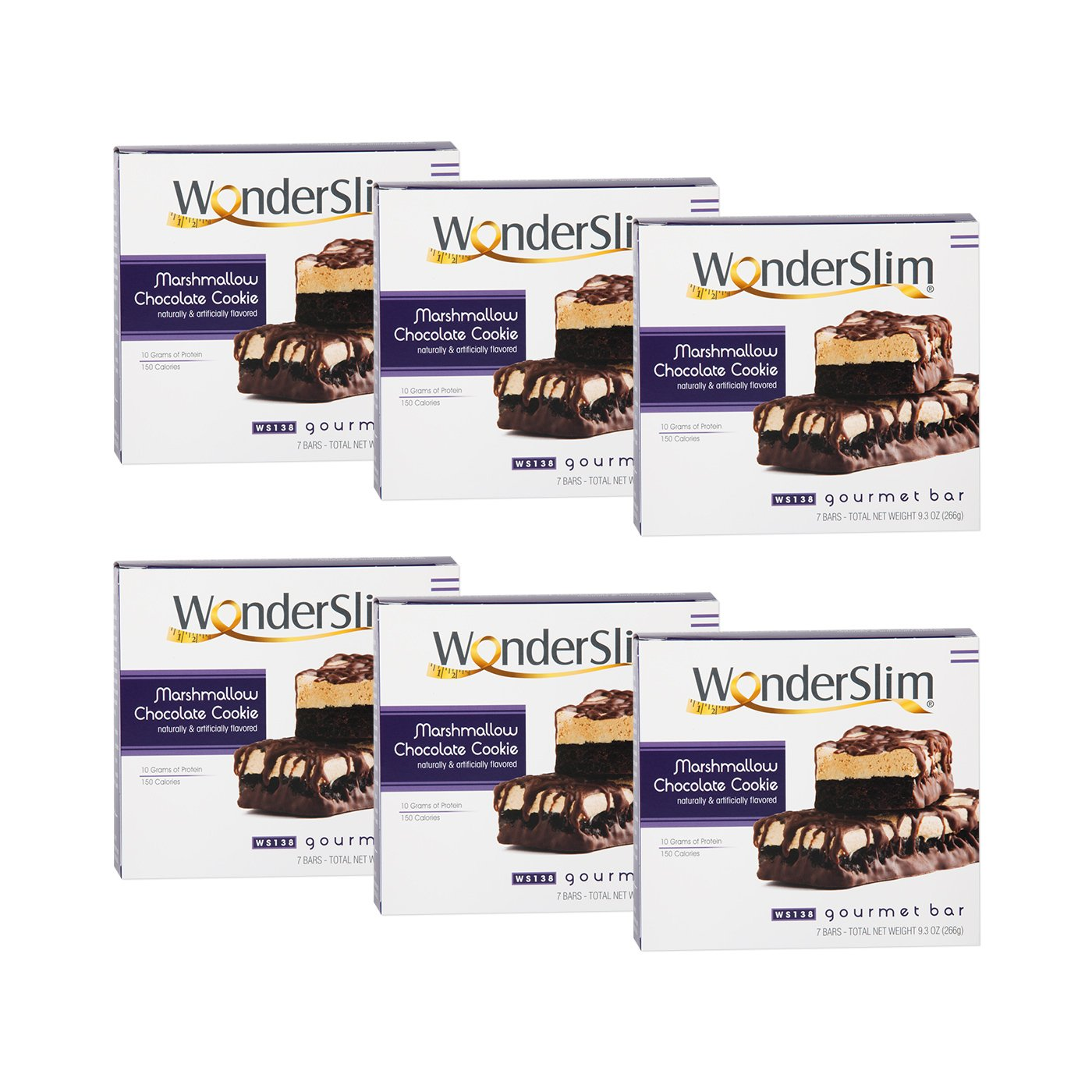 WonderSlim Low-Carb Gourmet High Protein Bar/Diet Bars with 10g Protein - Trans Fat Free, Cholesterol Free, Marshmallow Chocolate Cookie - 6 Box Value-Pack (Save 10%) by WonderSlim