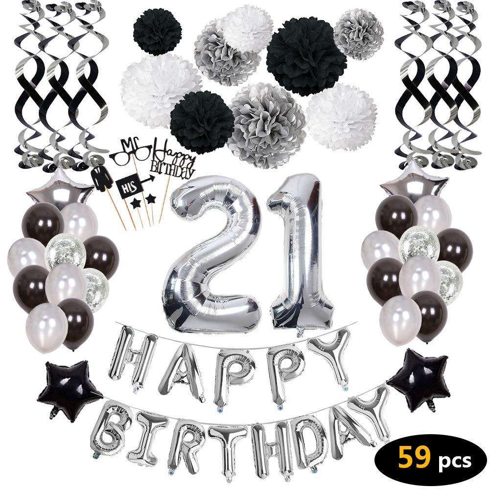 21st Birthday Decorations21st Happy Decorations Balloons Party Supplies21 Banners Confetti Hanging Swirls Paper Pompoms Cake