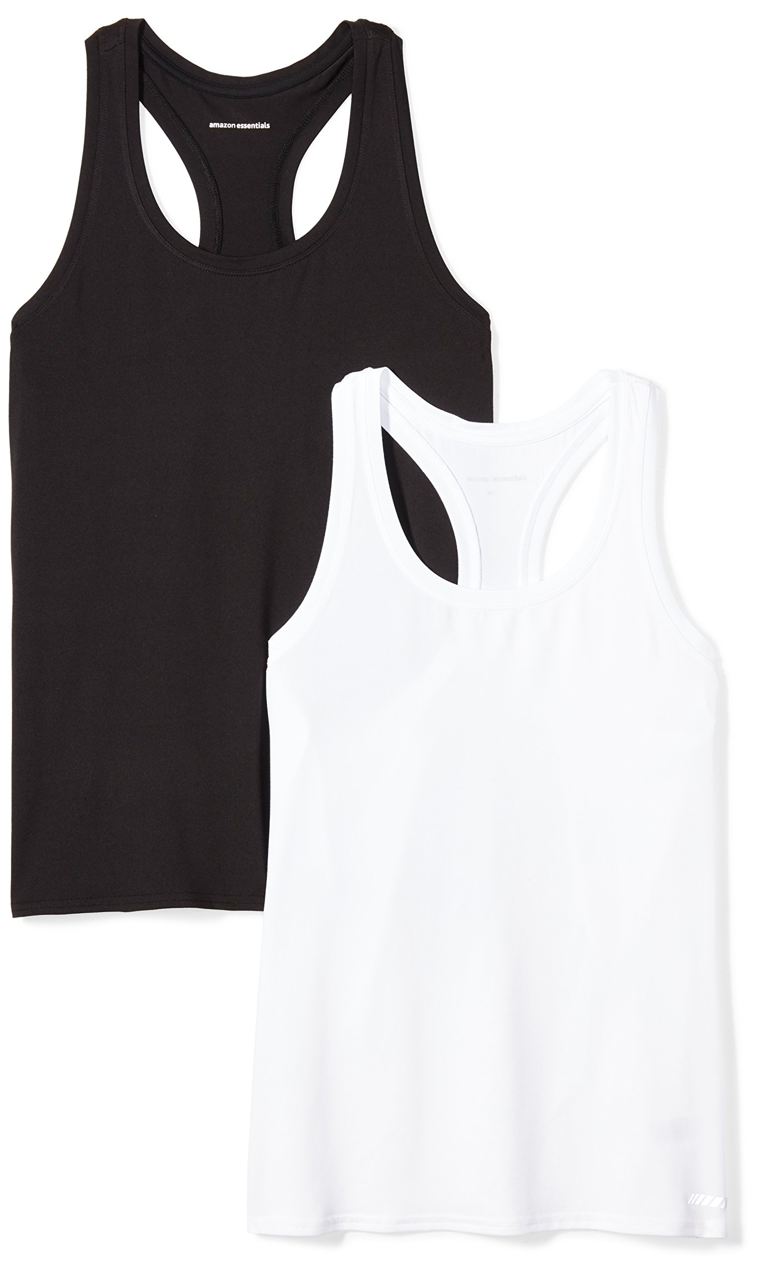 Amazon Essentials Women's Standard 2-Pack Tech Stretch Racerback Tank Top, Black/White, Medium