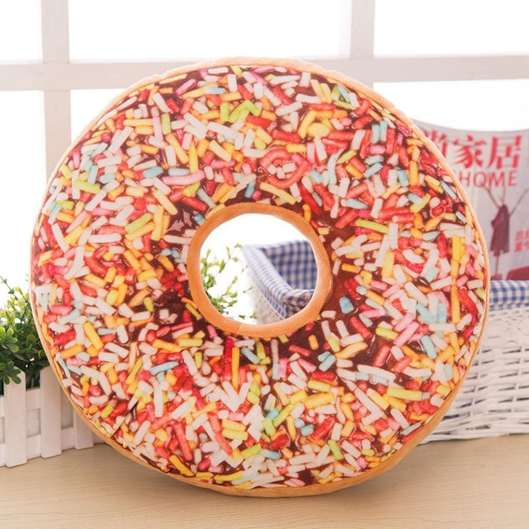 Tuscom Stuffed Soft Plush O-Shaped Sweets Food Donuts Neck Pillow Case,Home Essential,Kid Gift, (1)