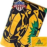 Jayus Gadsden Snake Flag 4x6 Outdoor- 150 D Lightweight Polyester Dont Tread On Me Flags Banners- Libertarian Flag with…
