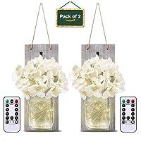 LED Lámpara de Decoración, Tarro de masón lámpara de pared con flores artificiales, Aplique de madera rústico Ganchos de…