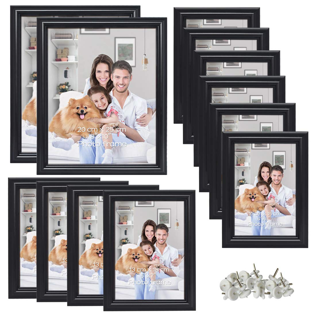 PETAFLOP Multiple Black Picture Frames Set of 12, Two 8x10 Picture Frame, Four Picture Frames 5x7, Six 4x6 Frame by PETAFLOP