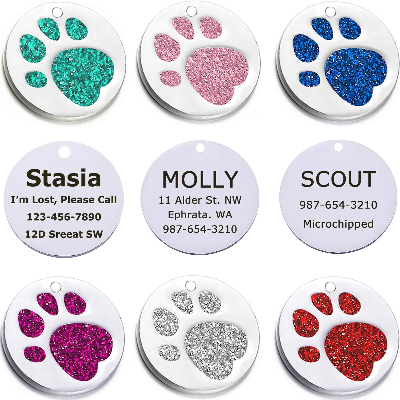 Taglory Personalisiert Hundemarke mit Gravur//Id Tag Funkelnd Pfote Hundemarke aus Edelstahl//Hunde Adressanh/änger Katze mit Name und Nummer mit gratis Schl/üsselring