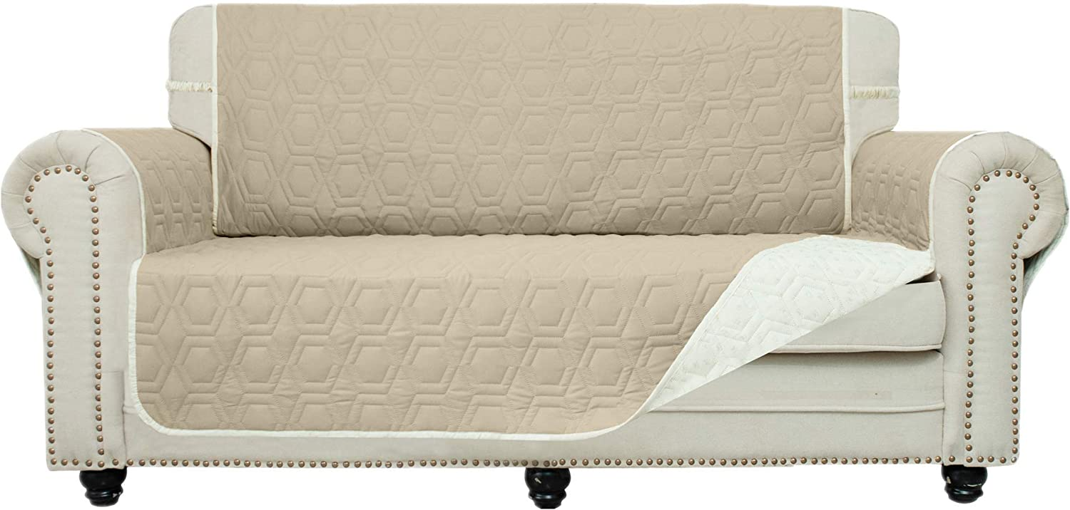 Chenlight Loveseat Slipcover Furniture Protector Slip Resistant Waterproof Stain Resistant Machine Washable Sofa Cover for Kids Children Pets Dog Cat (Loveseat:Khaki)
