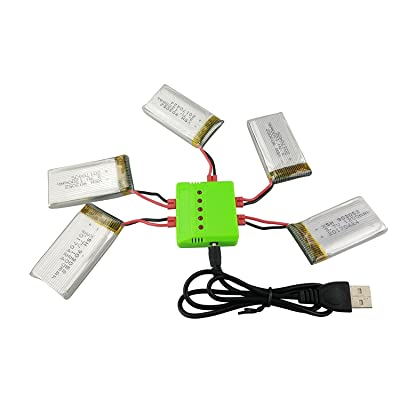sea jump Four-axis Accessories 5PCS 3.7V 1200mah Lithium Battery + 5in1 Charger for SYMA X5HW X5HC Remote Control Helicopter Upgrade Parts: Toys & Games
