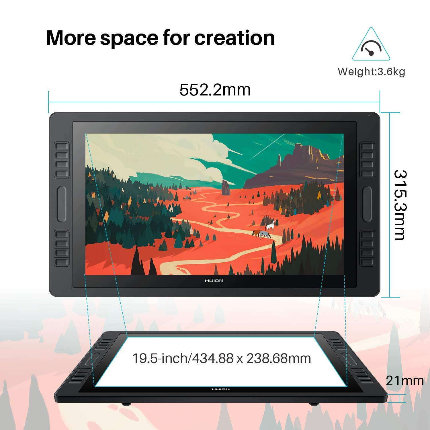 HUION Graphic Drawing Tablet Inspiroy Q11K V2 with Stylus Tilt Function Battery-Free Stylus 8192 Pen Pressure 11 inch Q11K V2