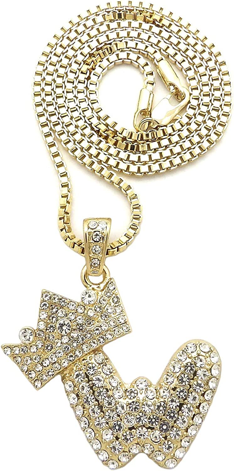 NYFASHION101 Stone Stud Bubble Initial W with Crown Pendant with 2mm Box Chain Necklace