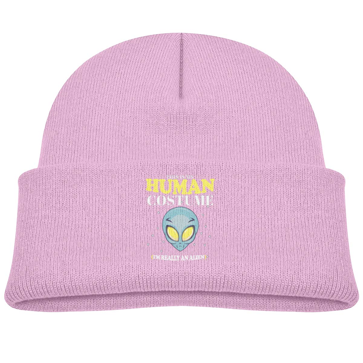 30c08e0c377 Amazon.com  This is My Human Costume I m Really an Alien Beanie Cap Skull  Hat Infant Pink  Clothing