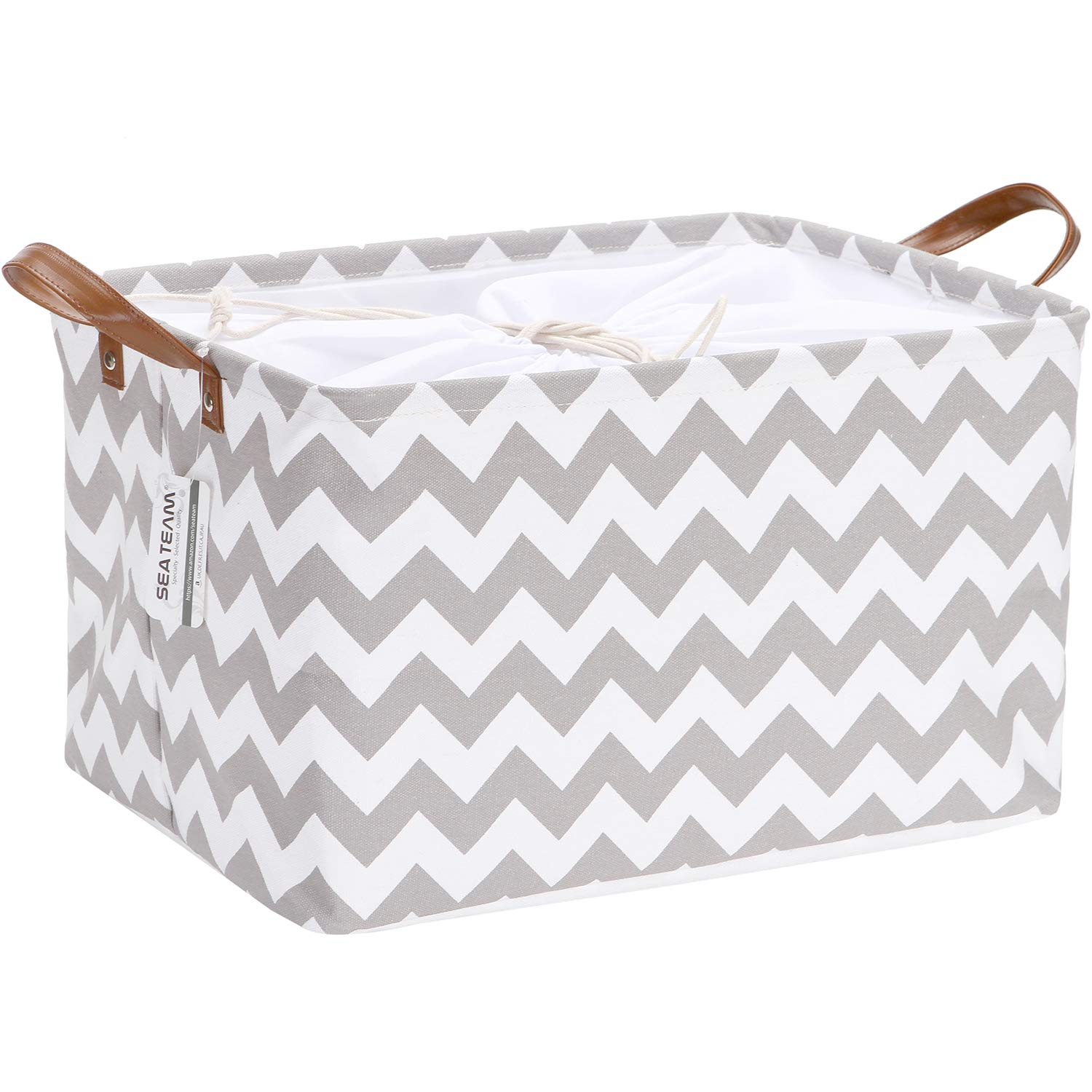 Sea Team Modern Chevron Pattern Canvas Fabric Storage Basket Collapsible Geometric Design Storage Bin with Drawstring Cover and PU Leather Handles, 16.5 by 11.8 inches, Waterproof Inner, Grey